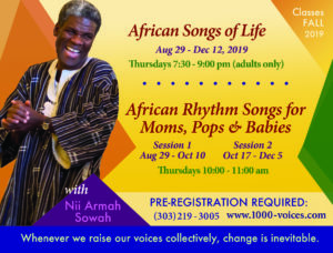 African Songs of Life (adults) Fall 2019 @ St. John's Episcopal Church | Boulder | Colorado | United States